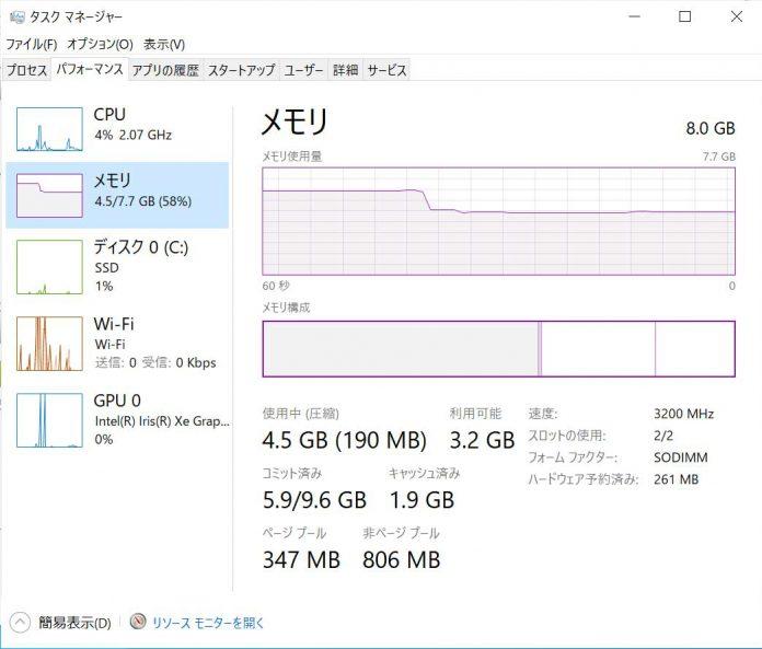 パソコン メモリ8GB